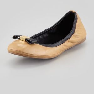 Tory Burch Leather Two Tone Eddie Bow Flats